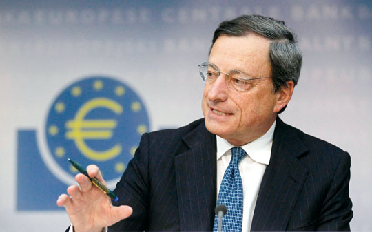 ECB President Mario Draghi speaks during the monthly news conference in Frankfurt