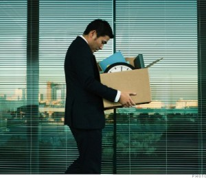 Asian Office Worker Leaving His Job in Layoff for Recession.