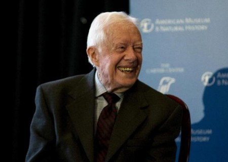File photo of former U.S. president Carter speaking at the American Museum of Natural History in New York