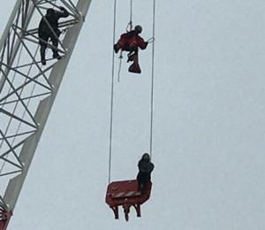 woman on crane