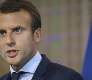 Outgoing French Economy Minister Macron attends a news conference after his resignation