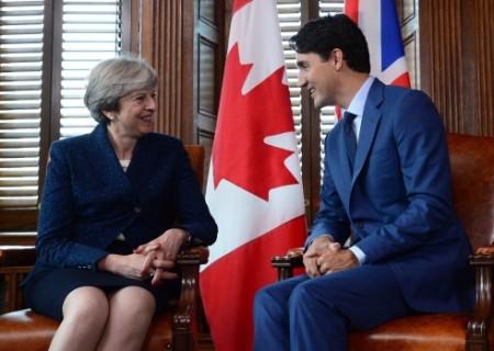 British PM Theresa May Trudeau meet on Parliament Hill