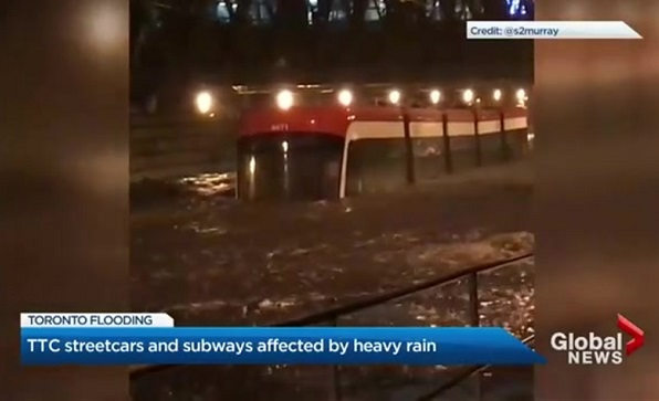 ttc streetcar in water